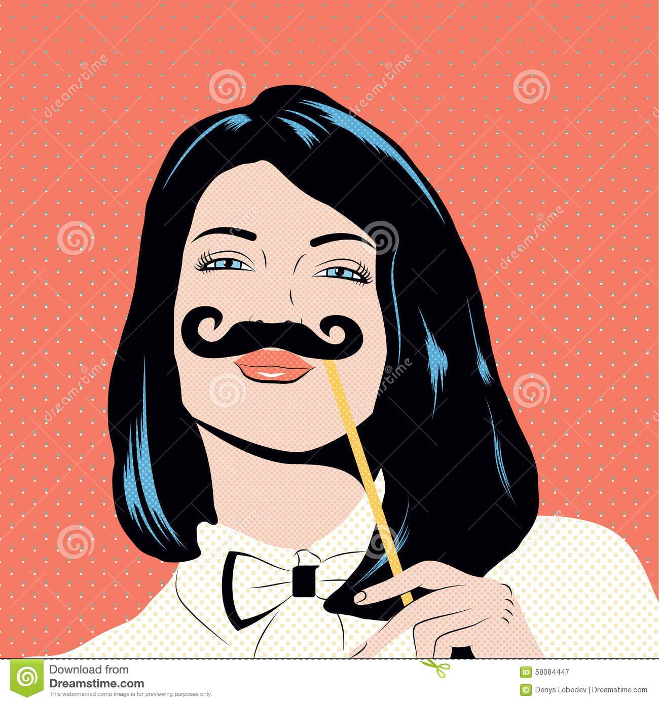 Pop Art Illustration With Girl Holding Mustache Mask. Stock.