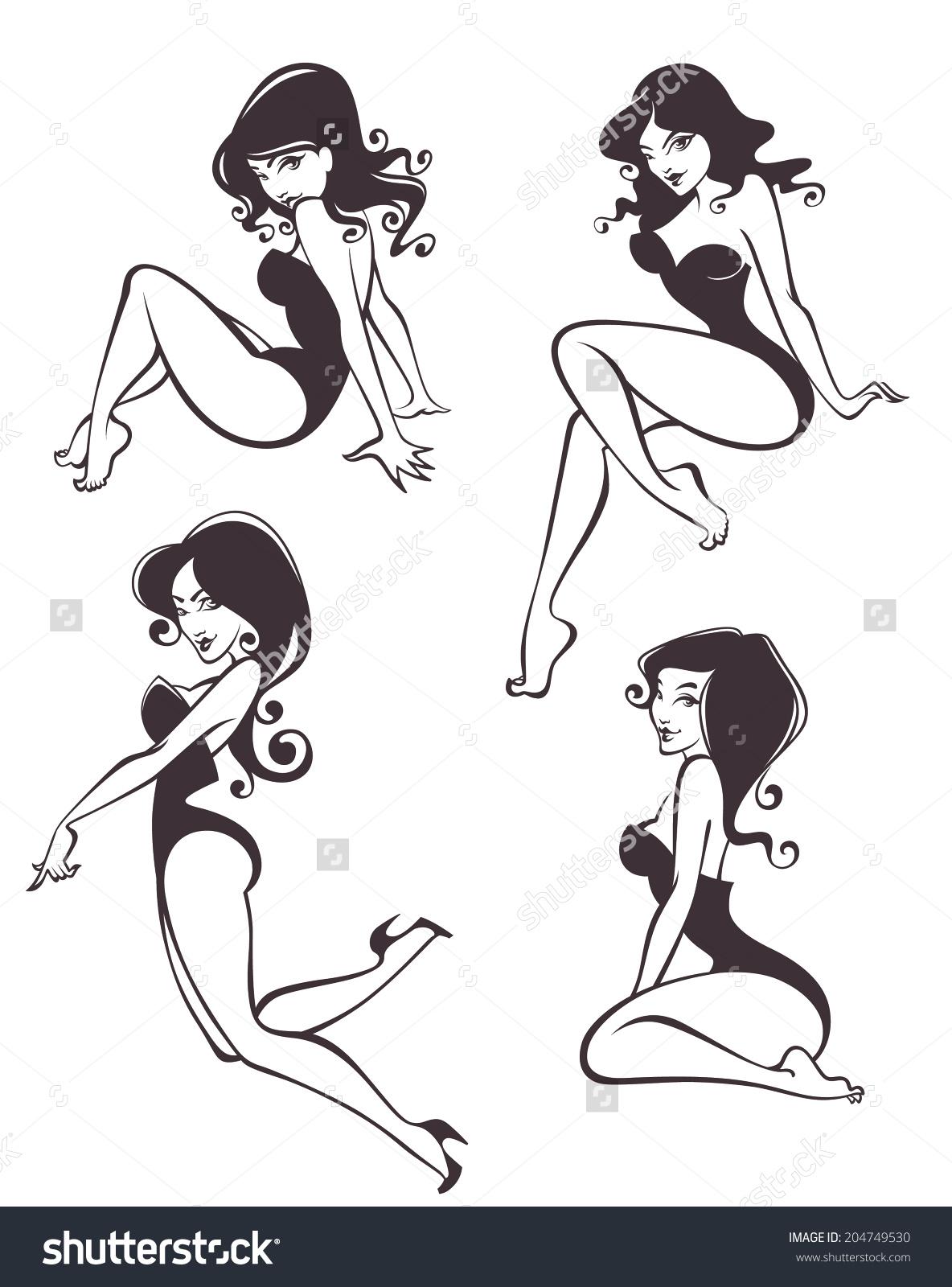 Pin up girl clip art.