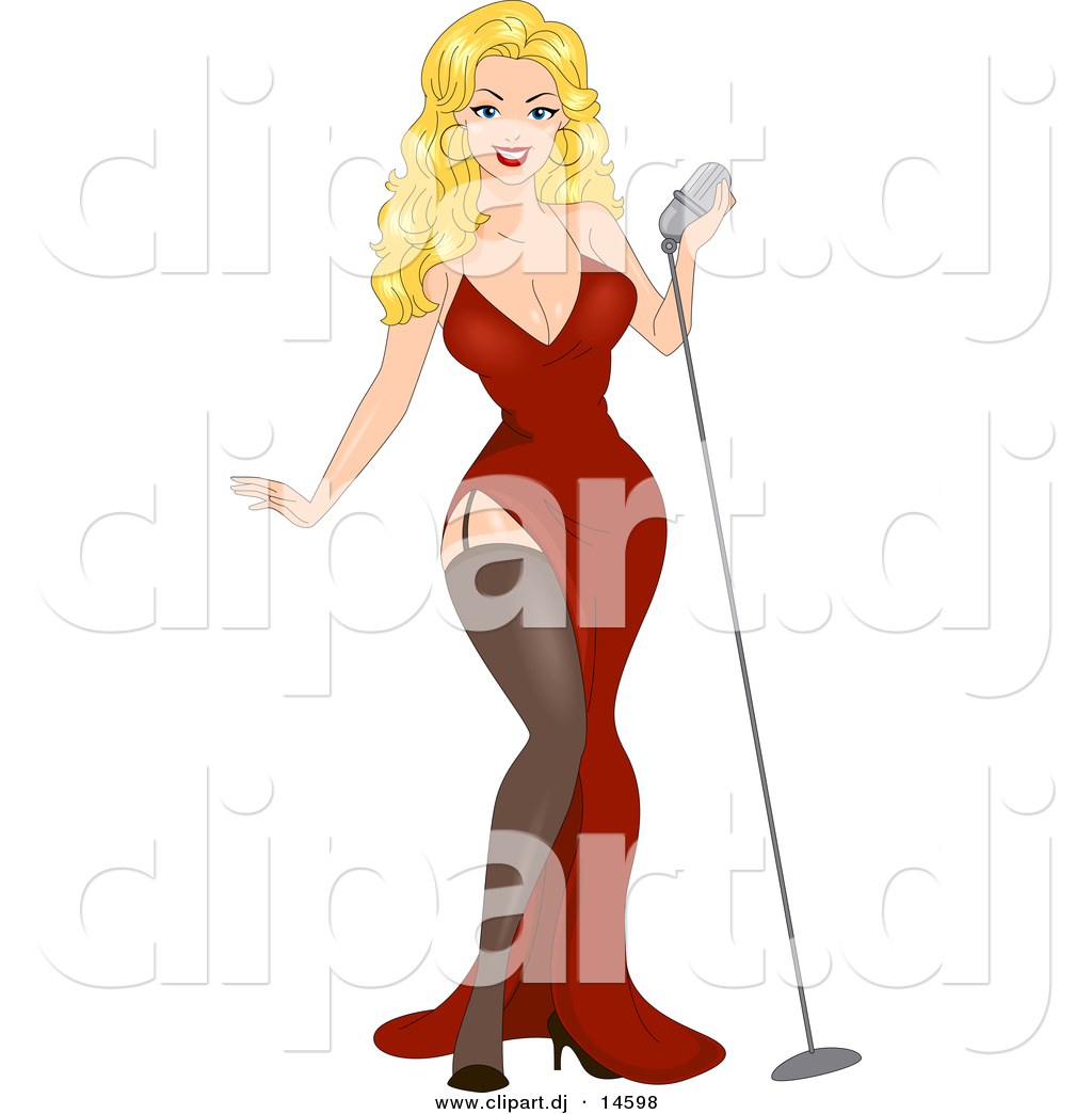 Vector Clipart of a Sexy Cartoon Retro Blond Pinup Girl Standing.