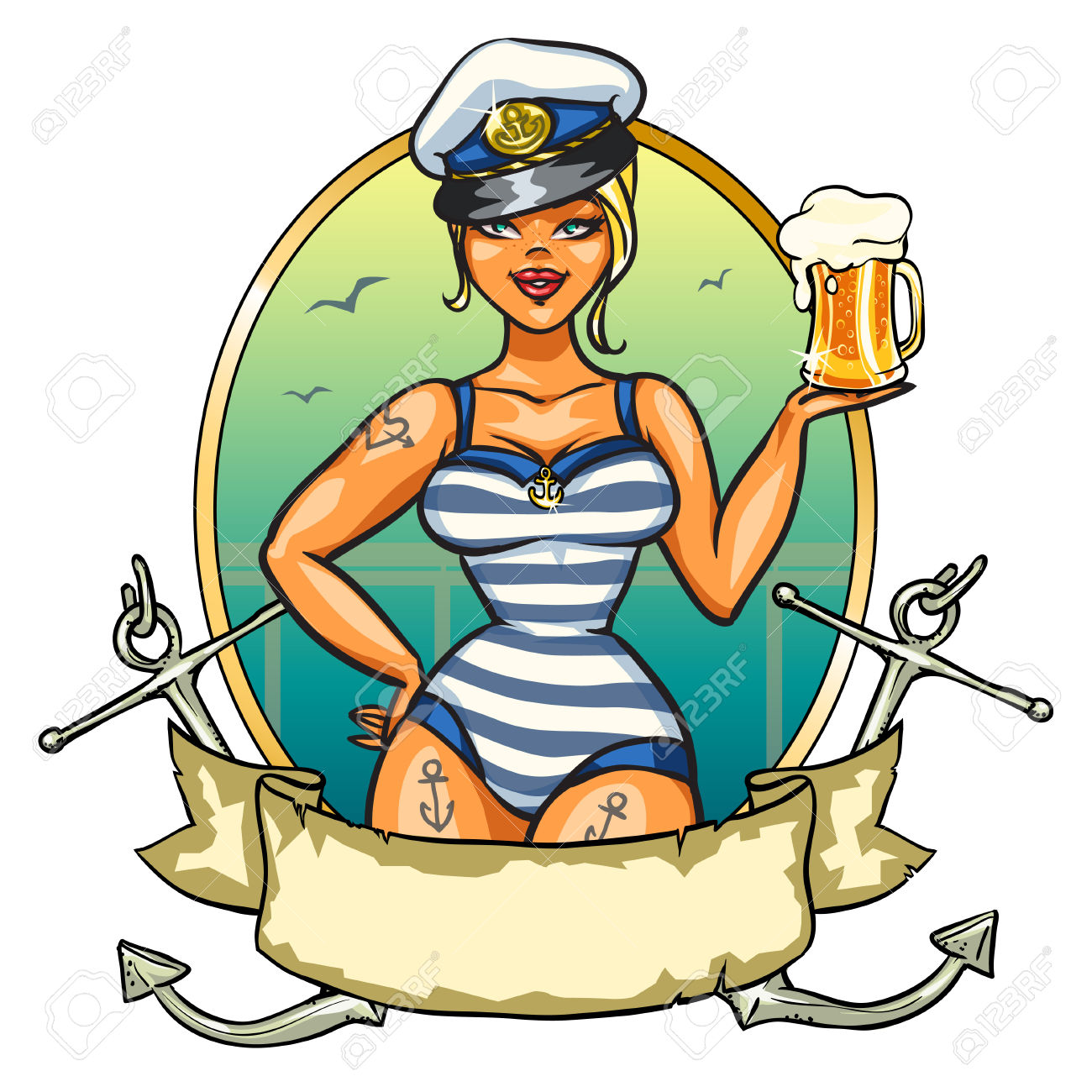 Label With Pin Up Sailor Girl And Ribbon Design Royalty Free.