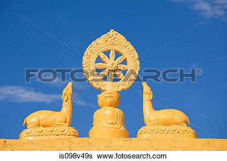 Stock Images of Buddhist Dharmacakra, Kungri Monastery, Pin Valley.