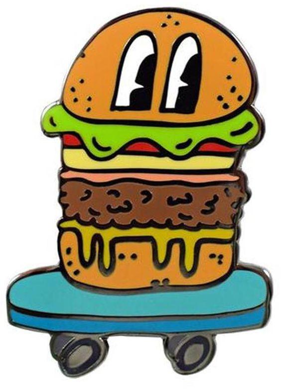 Valley Cruise Press Skateboarding Hamburger Pin pins >> hard.
