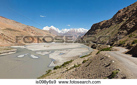 Stock Photograph of Himalayas and road through Pin Valley.