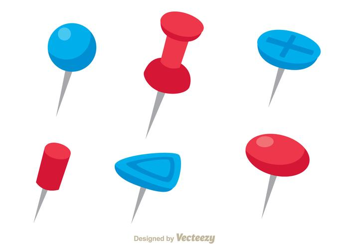 Red And Blue Push Pin Vectors.