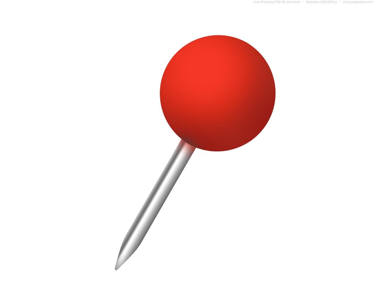 Push Pin Vector Art Icon.