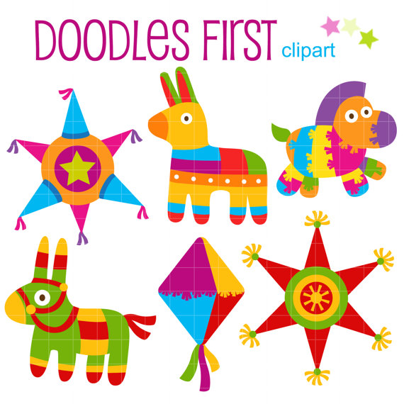 Fiesta Piñatas Set Clip Art for Scrapbooking Card by.
