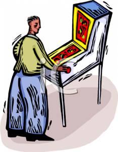 Playing an Arcade Pinball Game.