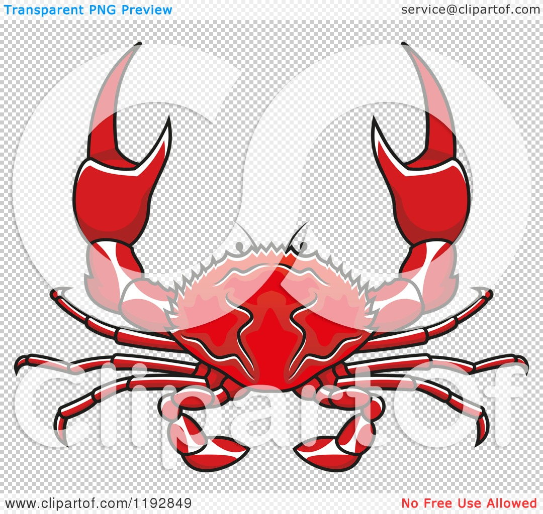 Clipart of a Red Crab with Pincers.