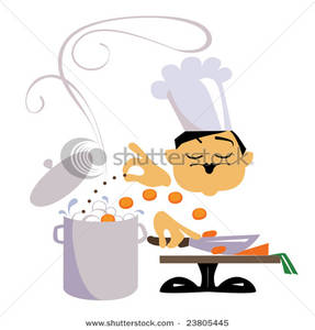 Chef Chopping Carrots Into a Pot While Adding a Pinch of Spice.