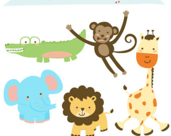 SALE Jungle clipart, Baby Animal clipart, Monkey clipart, Elephant.