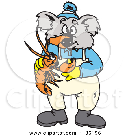Clipart Illustration of a Koala Being Pinched On The Nose By A.