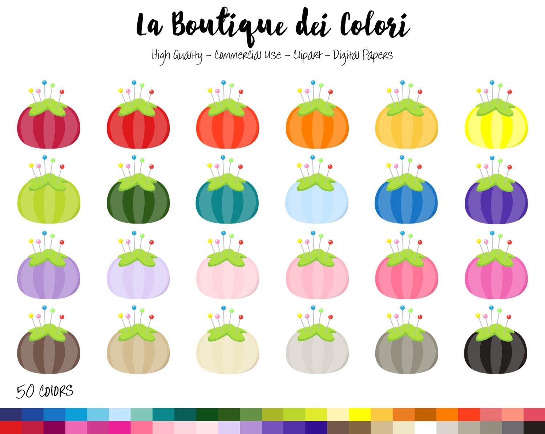 50 Rainbow Pincushion Clip art Digital by LaBoutiqueDeiColori.