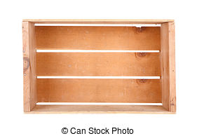 Stock Illustration of isolated empty pine box.