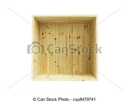 Clipart of isolated empty pine box.