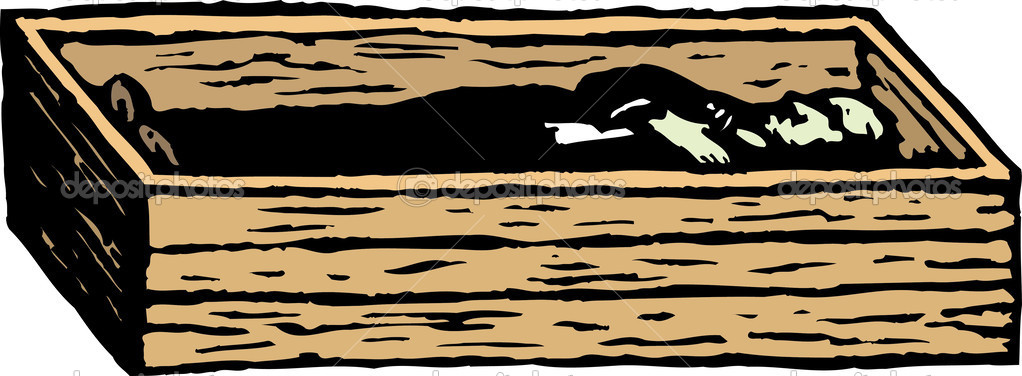 Woodcut Illustration of Corpse in Pine Box Coffin — Stock Vector.