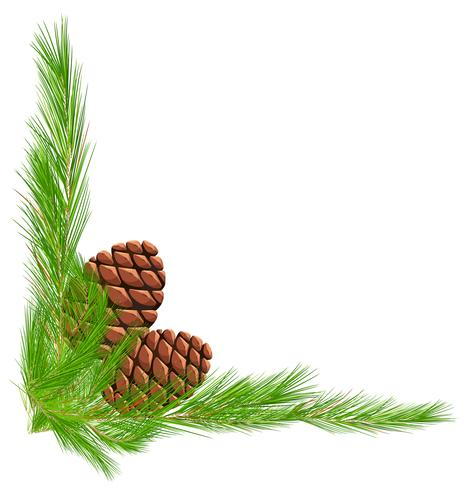 Border template with pinecones and leaves.