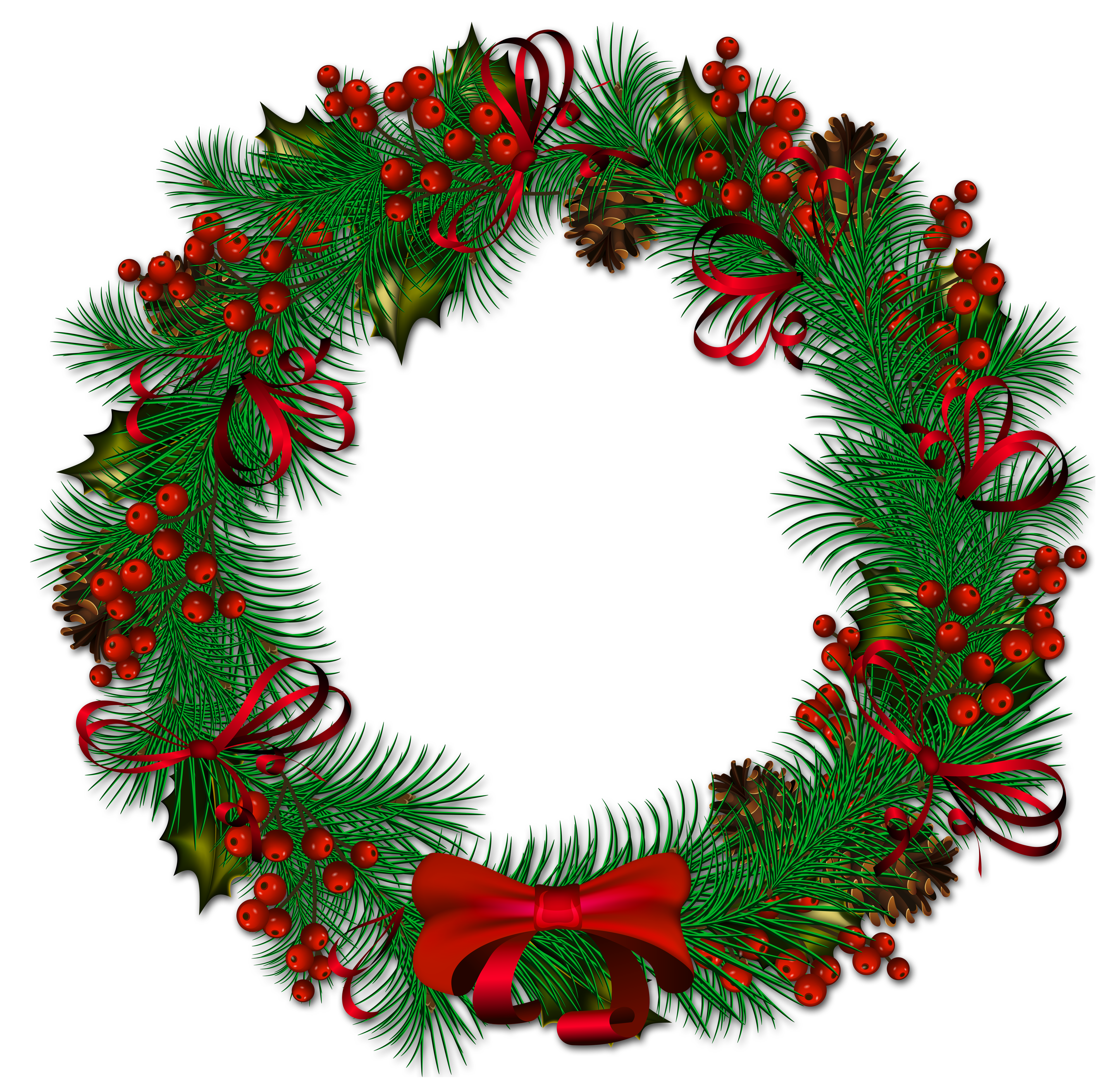 Transparent Christmas Pinecone Wreath with Red Ribbon.