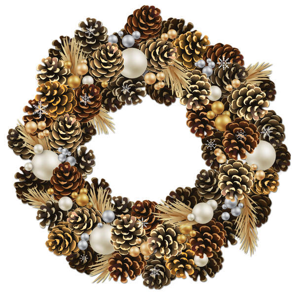 Transparent Christmas Pinecone Wreath with Pearls Clipart.