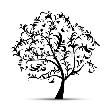 Family Tree Silhouette Clipart.