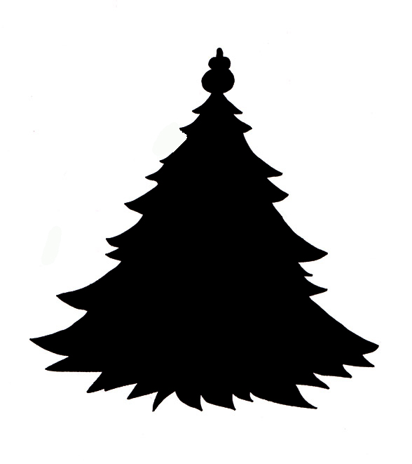Silhouette Family Christmas Tree Clipart.