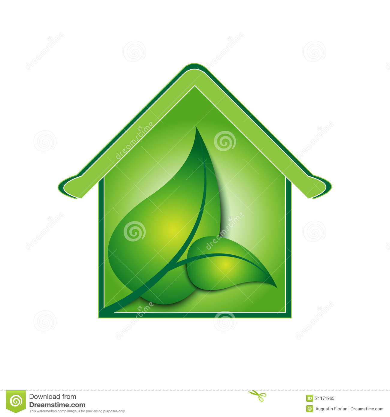 Vector Green House Sign / Logo Royalty Free Stock Photo.