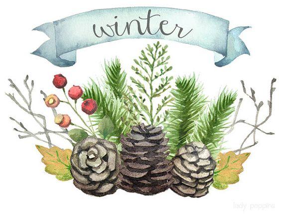 Watercolor Winter Clip Art.