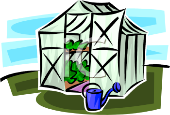 Royalty Free Clip Art Image: Cartoon of Plants Growing in a Small.