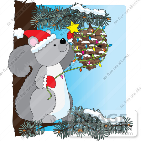 Christmas Clipart Of A Festive Gray Squirrel In A Pine Tree.