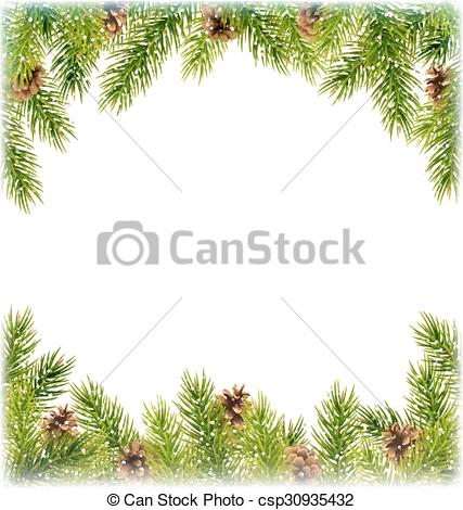 Vectors of Green Christmas Tree Pine Branches with Pinecones Like.