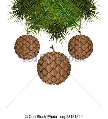 Vector Illustration of cones like christmas balls hanging on pine.