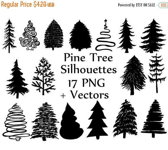 SALE 50% Christmas Tree Silhouette clipart: PINE by ChiliPapers.