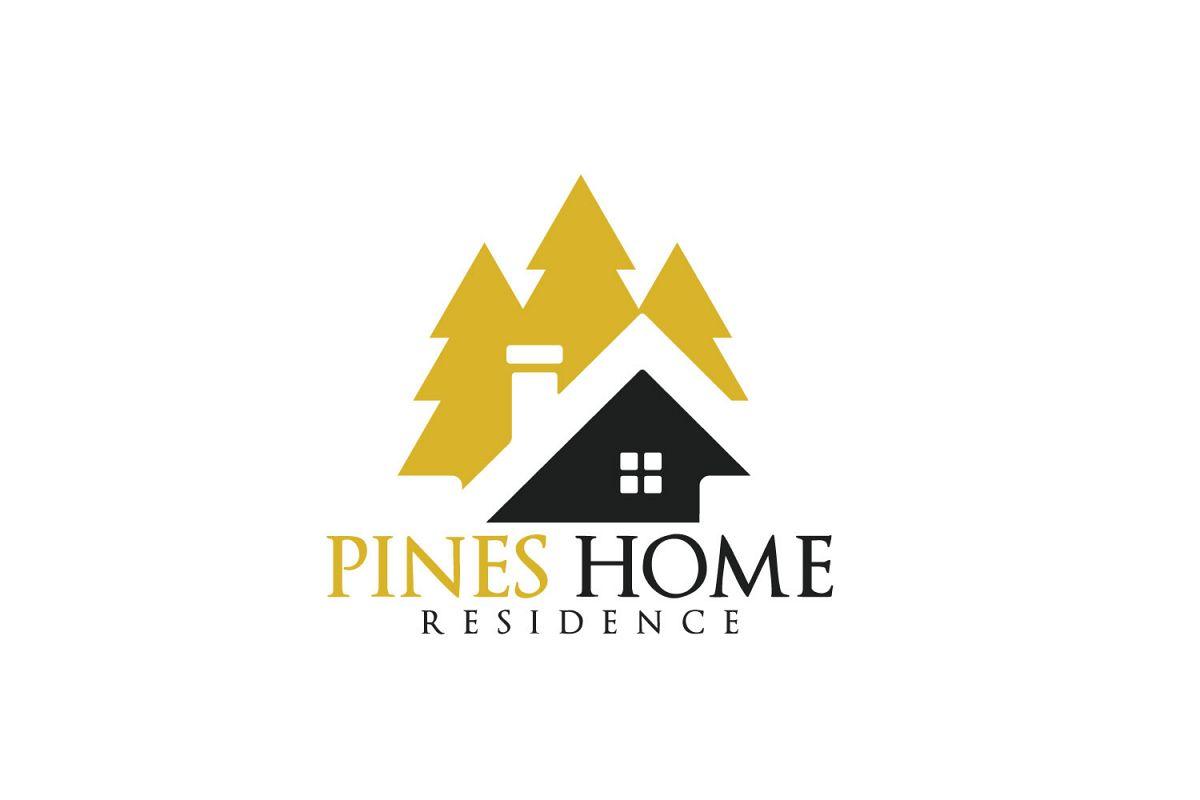 Pine Home Vector Logo Design..