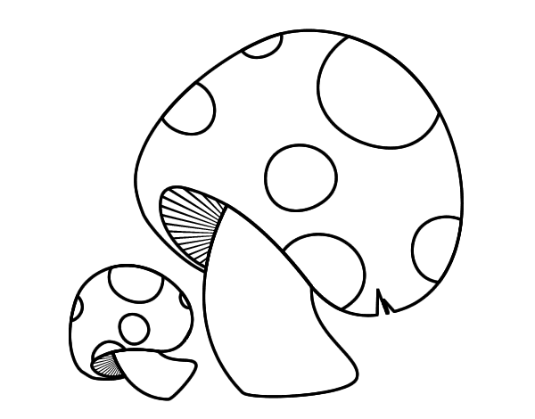 Mushroom clipart to color.