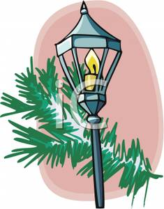 Antique Street Lamp And A Pine Bough.