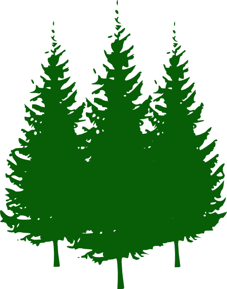 Clip art pine tree collection in black silhouette and green.