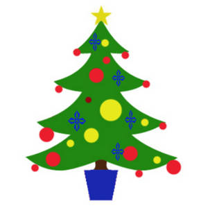 Clipart Picture of a Cross Decorated Christmas Tree.