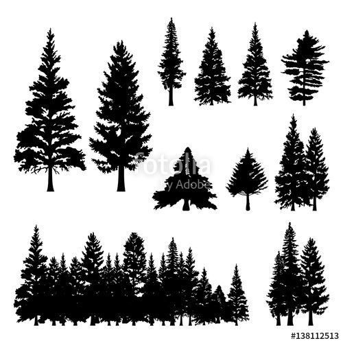 Pine Tree Silhouette Vector Free.