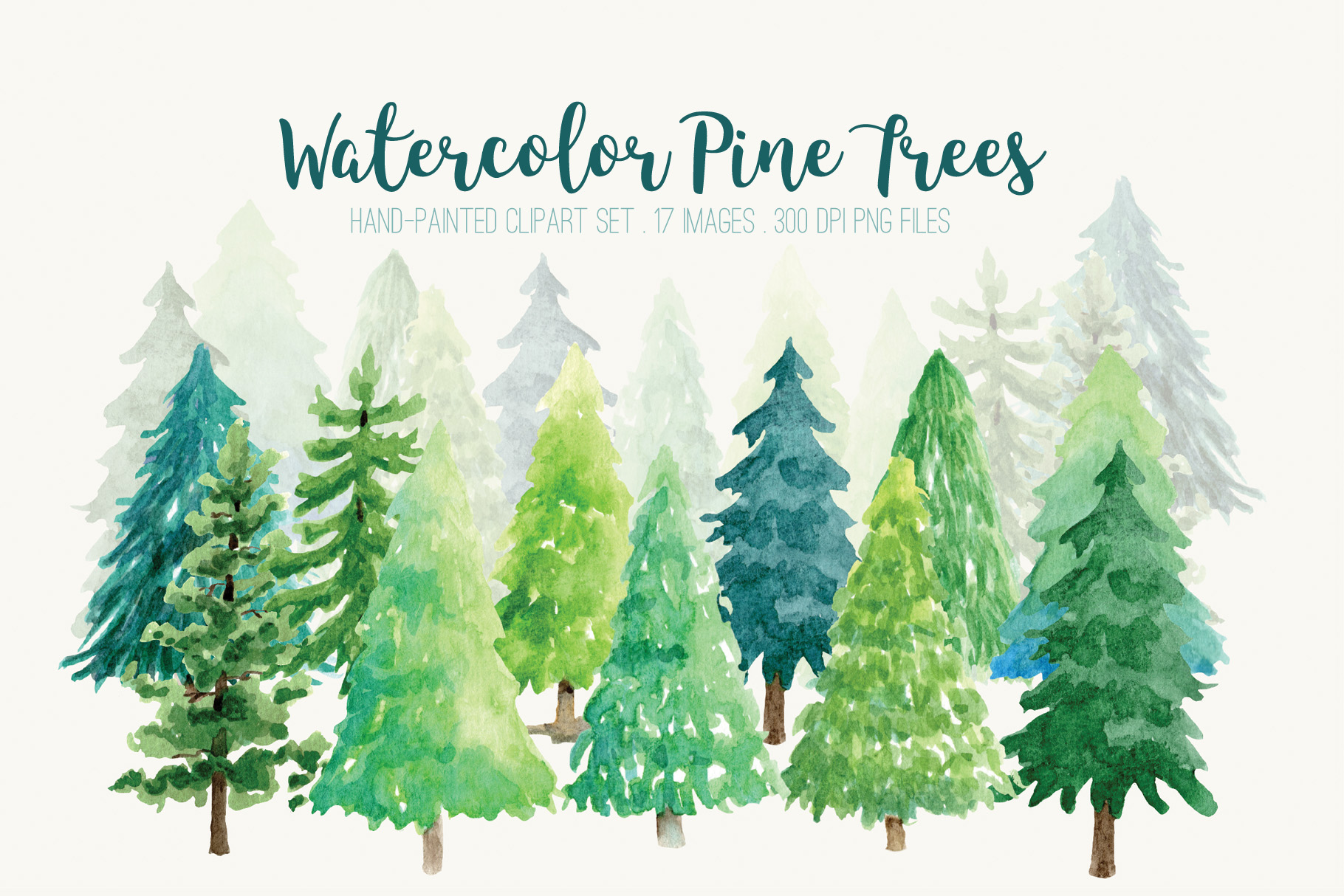 Watercolor Pine Trees Clip Art.