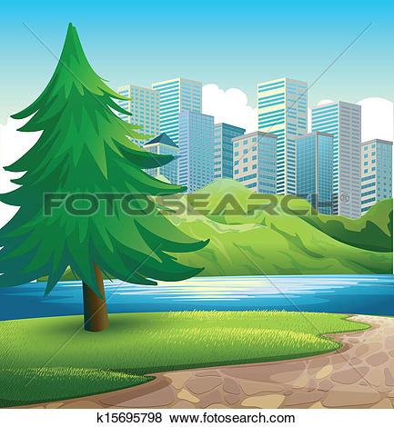 Clip Art of A pine tree beside the river across the tall buildings.