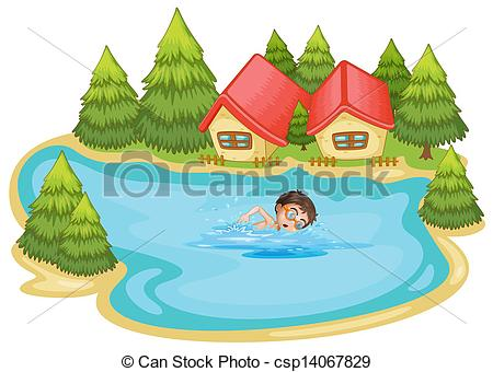 Vector Illustration of A boy swimming at the river with pine trees.
