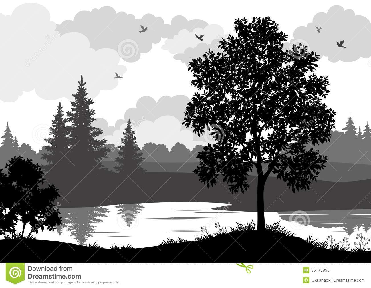 Tree silhouette with river clipart.