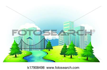 Clip Art of Tall buildings in an island with a river and pine.