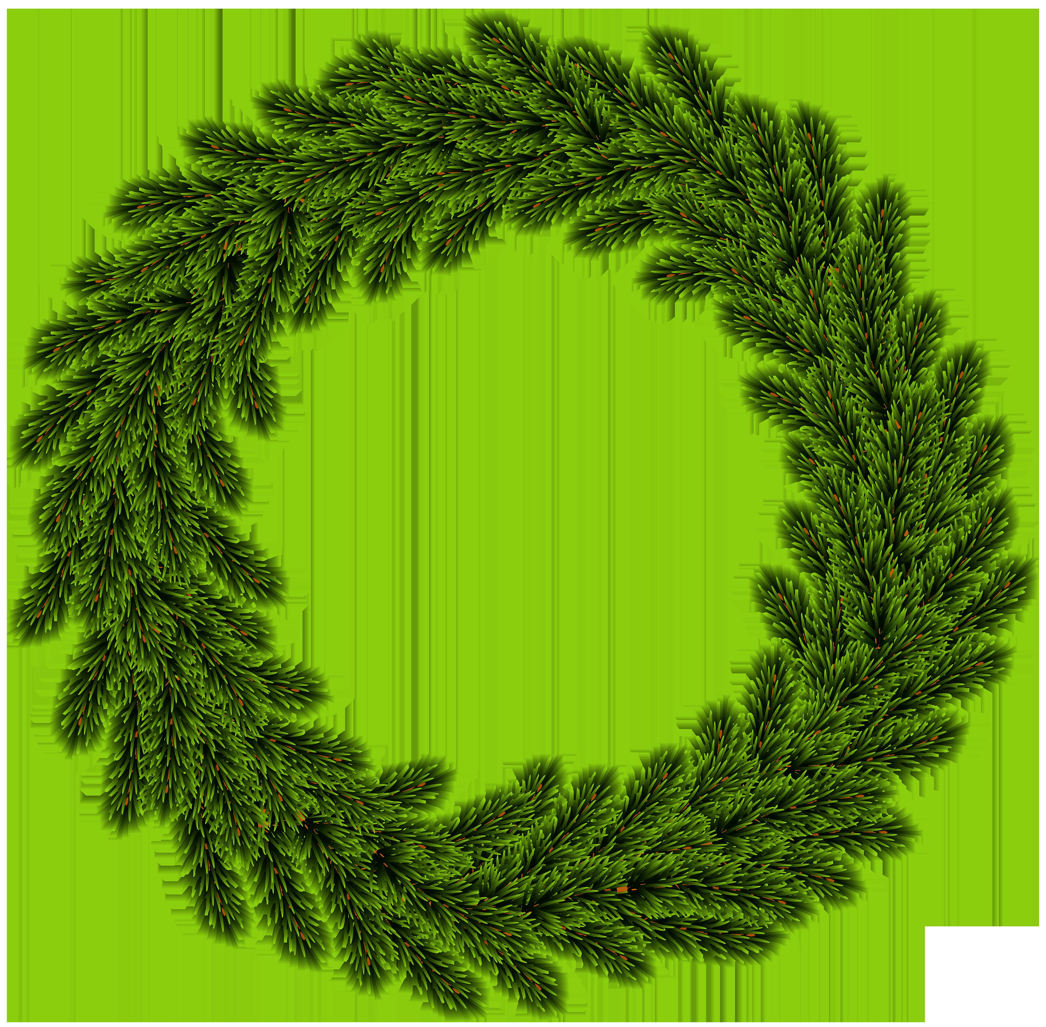 Pine Wreath Clip Art Image.