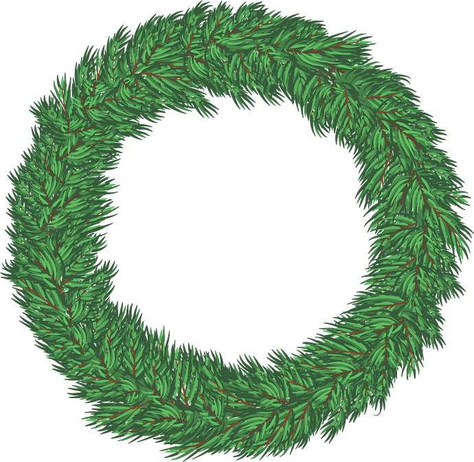 Christmas pine wreath clipart. Free download..