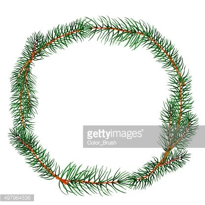 Watercolor pine tree wreath Clipart Image.