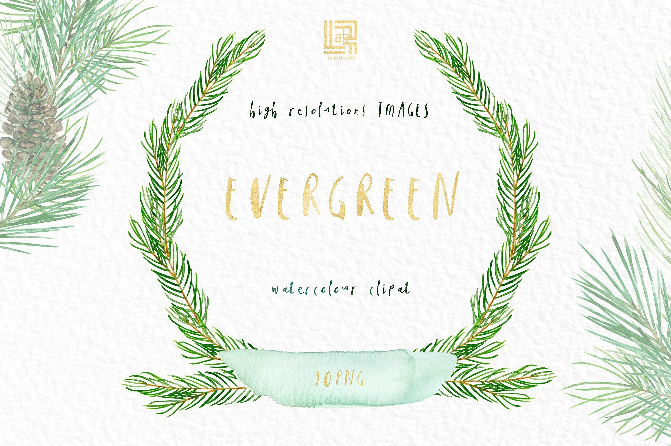 Pine. Watercolor clipart #Including#wreaths#size#background.