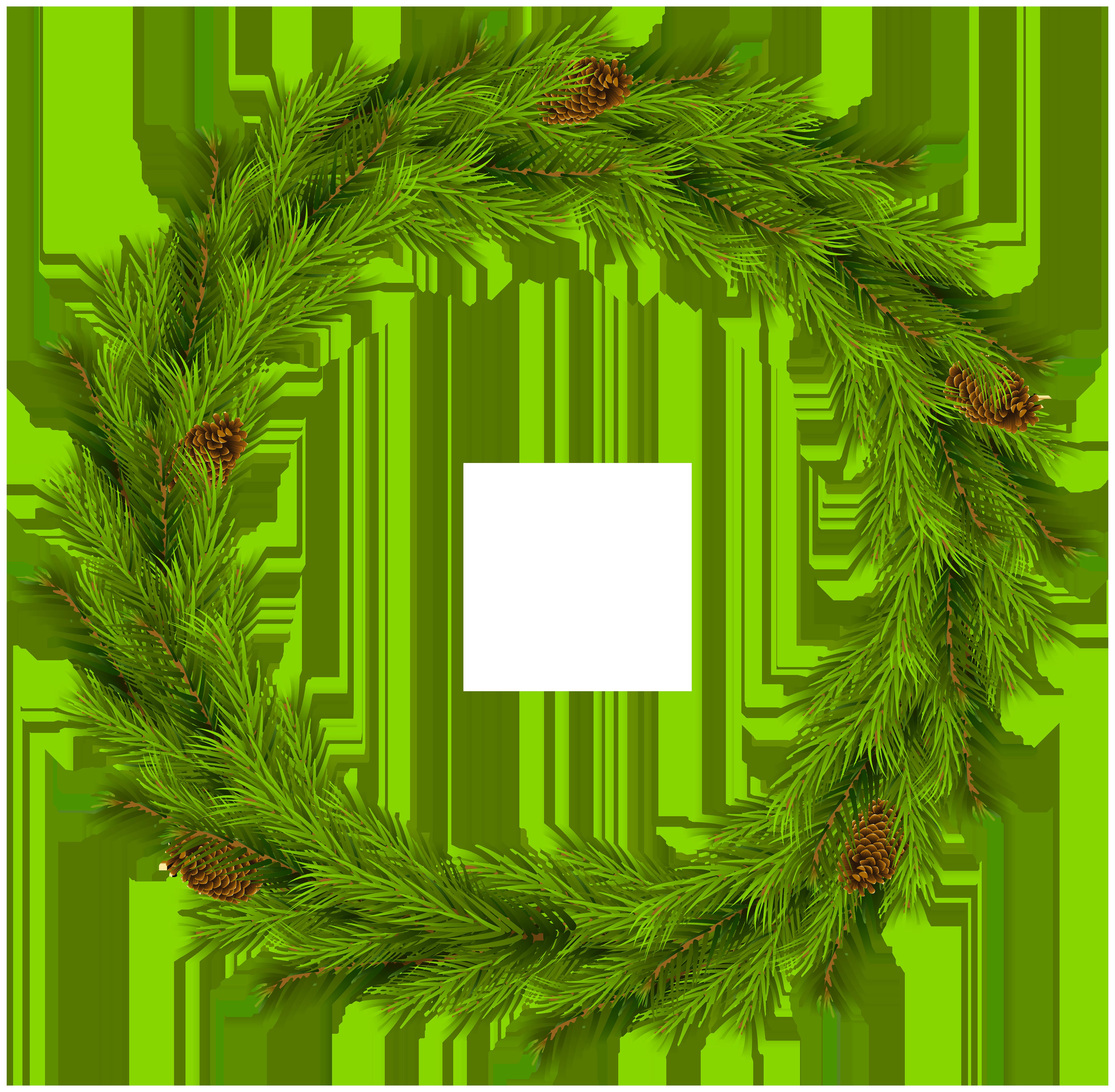 Christmas Pine Wreath PNG Clip Art Image.