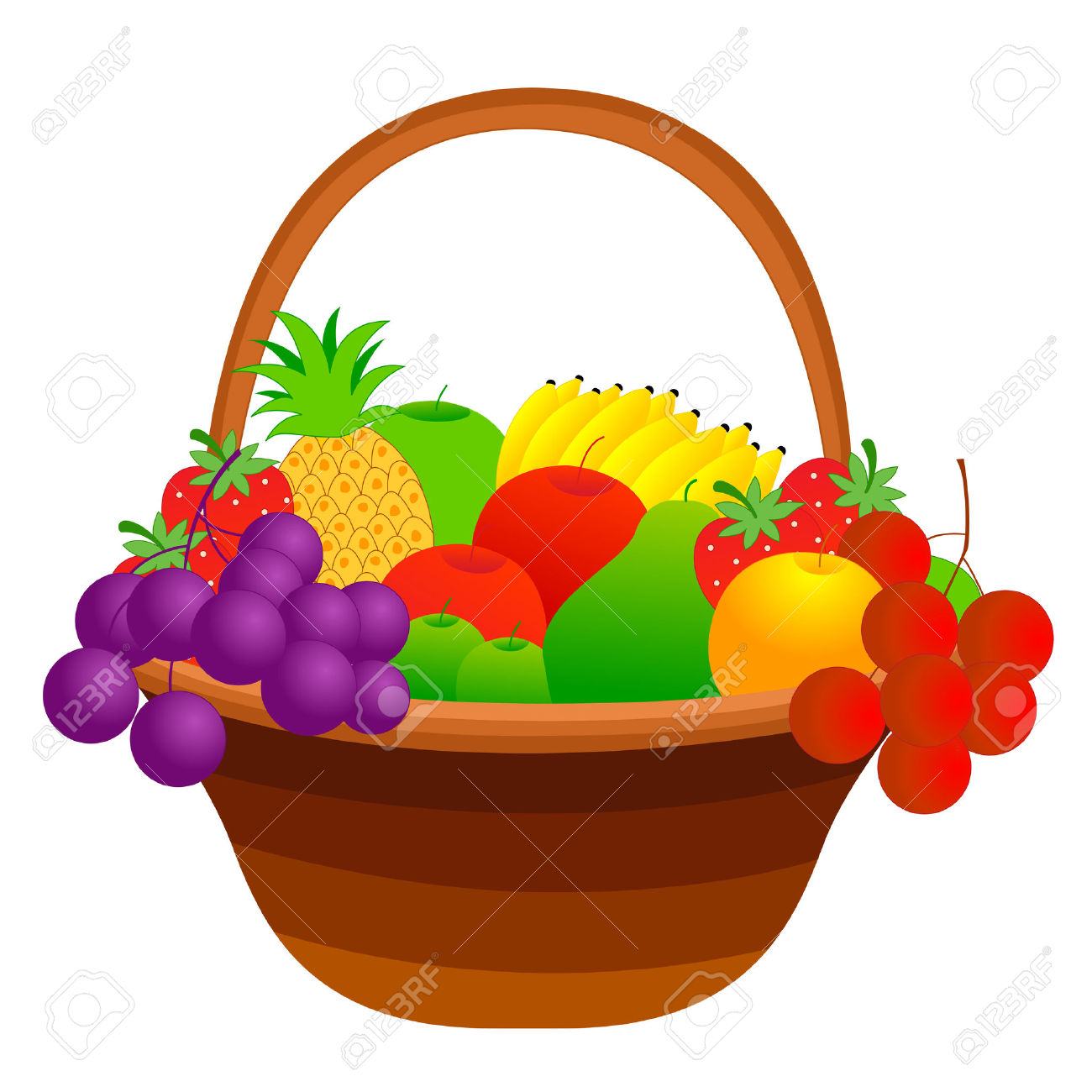 Illustration Of A Fruit Basket With Mixed Fruits Including Apple.