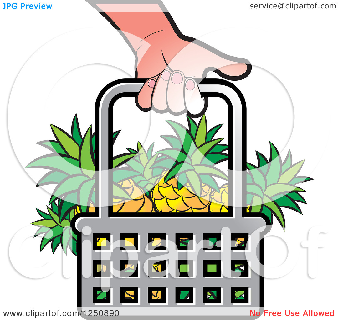 Clipart of a Hand Carrying a Shopping Basket Full of Pineapple.