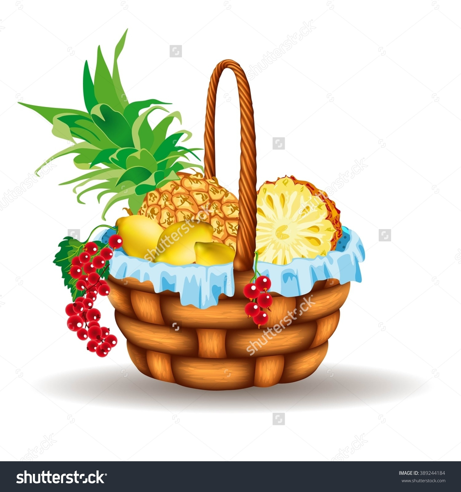 Basket With Pineapple, Lemon And Currants Stock Vector.